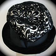 Hat Flocked Black White Cut Velvet 1960s