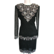 Dress Laurence Kazar Beaded Black 1980s Petite Size 6