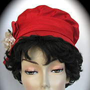 Hat Red Flower Linen