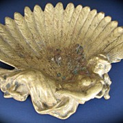 Antique Tray Geisha Victorian Calling Card or Ashtray Figural Brass Lady Belgium