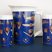 Cadillac Retro Plastic Pitcher and Tumblers Kitchen Set Auto