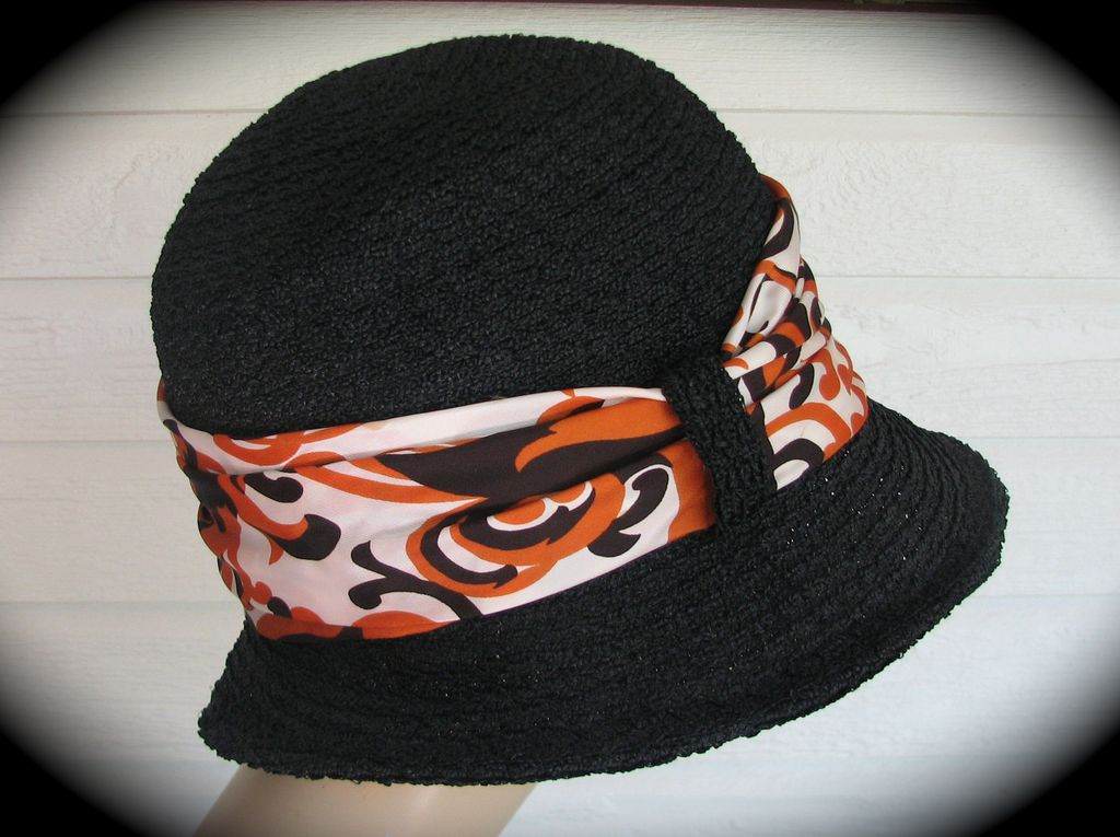 Hat Andre Mod Fall Black Scarf 1970s