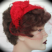 Hat Red 1960s Sisal Clock Springs