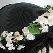Hat Maxine Black Flowers Straw