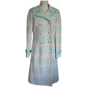 Coat 1960s Alfred Werber Diamonds Deadstock Pink Blue