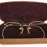 Antique Eyeglasses Art Nouveau Bausch and Lomb USA With Case