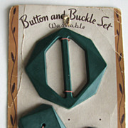 Vintage Le Chic Set Buckle Button Green Card Sewing