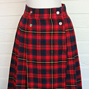 Vintage Skirt Plaid Tuccini Red