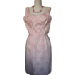 1960s Dress Brocade Wiggle Pink Metallic