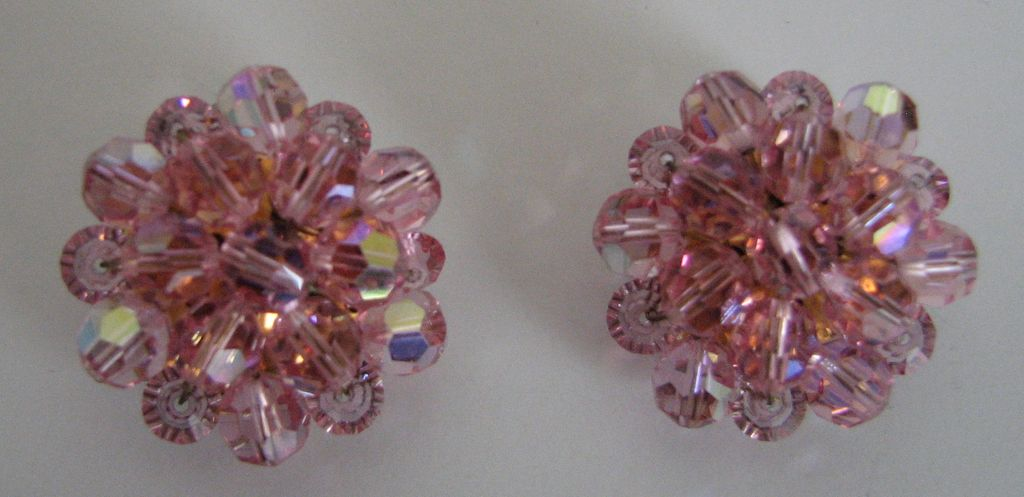 Earrings Pink Aurora Borealis Clip On