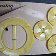 Vintage Buttons and Buckle Set Lansing Yellow Rope