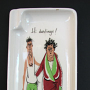 Tray Funny Midcentury Hi Darlings Kitsch Gag Cartoon
