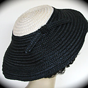Hat Gwenn Pennington Straw Navy White Cartwheel