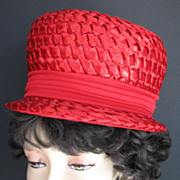 Vintage Hat Red Miss Eileen Bowler Straw