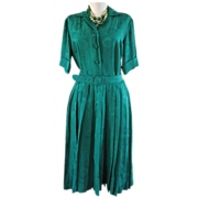 Vintage Dress Dynasty British Colony Emerald Green Silk