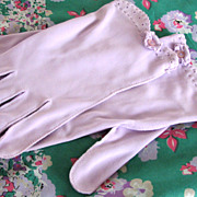 Vintage Gloves and Scarf Lilac Purple Floral