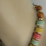 1970s Necklace and Earrings Sherbert Set Disc