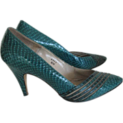 Shoes Snake Size 8 J.Renee Ladies Turquoise Green Box