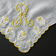 Hankie R Monogram Yellow Applique