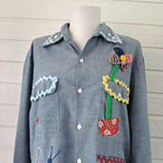 Blouse Mod Chambray 1960s Decorated Flower Power