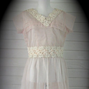 1950s Dress Nylon Chiffon Sheer Lace Pink Party