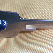 Tie Bar Key Pin Mens Blue Rhinestone