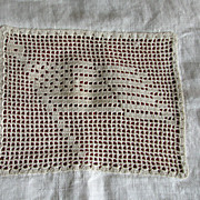 Vintage Pillowcase Flag Crochet Filet Muslin