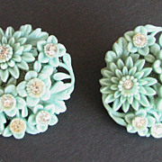 Earrings Floral Aqua Rhinestones Plastic Carved