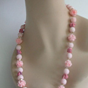 Necklace Carved Sugar Beads Plastic Pink Clay