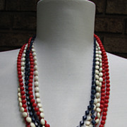 Necklace Patriotic Flapper Red White and Blue