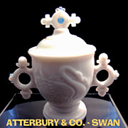 SOLD ATTERBURY - Swan Handled Mustard Jar - Milk Glass
