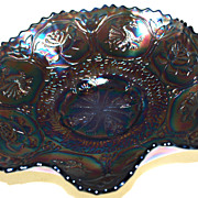 SOLD Fenton Carnival - DRAGON AND LOTUS - Ruffled Bowl - Blue