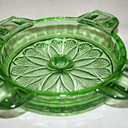 SOLD Depression Glass - SUNFLOWER - Ashtray - Green