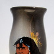 "RICK WISECARVER - Handpainted Indian - 11"" vase"