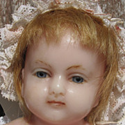 "21"" poured Wax Baby Doll _ mid to late 19th century_England Marked ""H.J. Meech ..."
