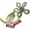 Beautiful 1940's Retro Gilt Filigree Flower Pin with Pink Glass Stones - SUMMER SALE