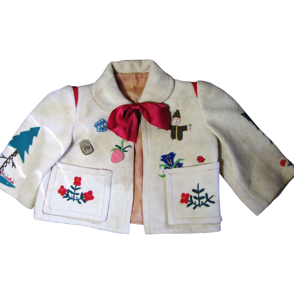 Darling Old German Appliqued Wool Jacket for Toddler or Doll