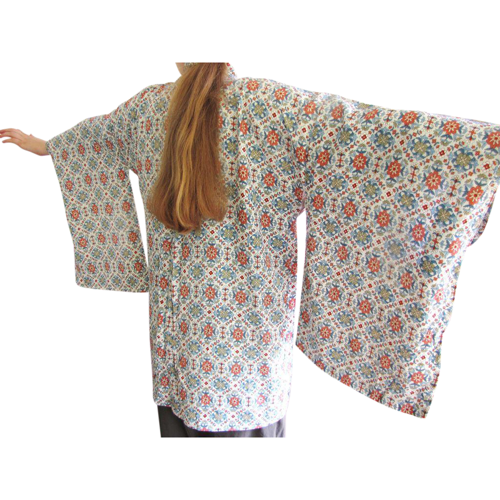 Lovely Vintage Japanese Haori Jacket, Beautiful Fabric!