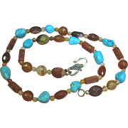 SALE Nice Cut Stone Necklace, Agate, Carnellian, Turquoise & Sponge Coral