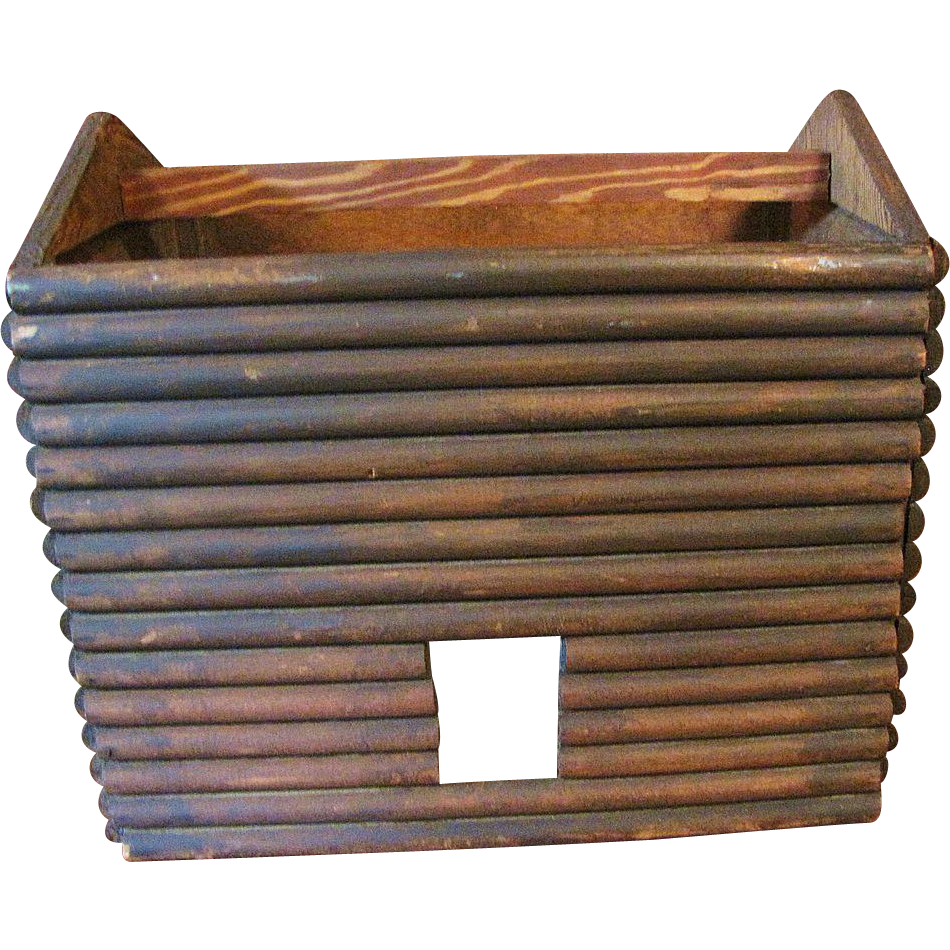 Circa 1930's Primative Log Cabin Doll House in the form of a Basket