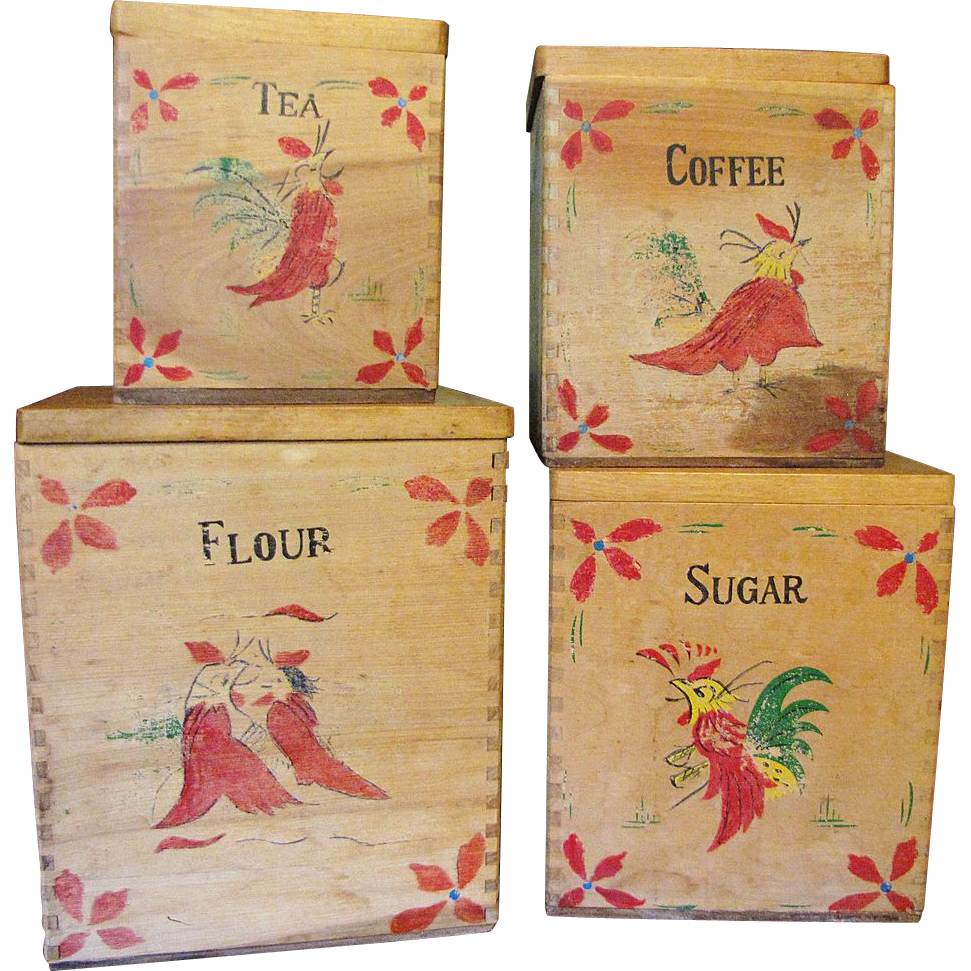 Circa 1940's Set of 4 Hand Made Hand Painted Rooster Primitive Canisters