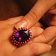 RARE Retro 15 Carat Oval Cut Uruganyan Amethyst (AAA-IF) & Ruby Ring 18k Yellow Gold