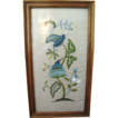 Nice Vintage Crewel Wool Work Paisley Style Framed Needlework