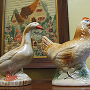 Fun Vintage Brazilian Pottery Duck and Rooster