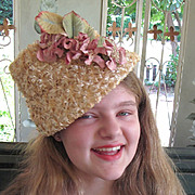 Fun Blonde Raffia 1950's Connical Floral Hat