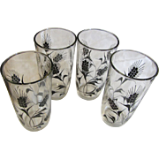 Great Retro Set of 4 Anchor Hocking Wheat Design Tumblers