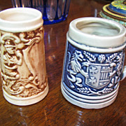 Two Miniature Beer Steins (shot glass size) made in Japan Mid 20th Century‏