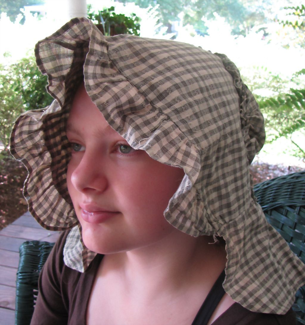 Early Calico Prairie Bonnet for Re-enactment, Study or Display