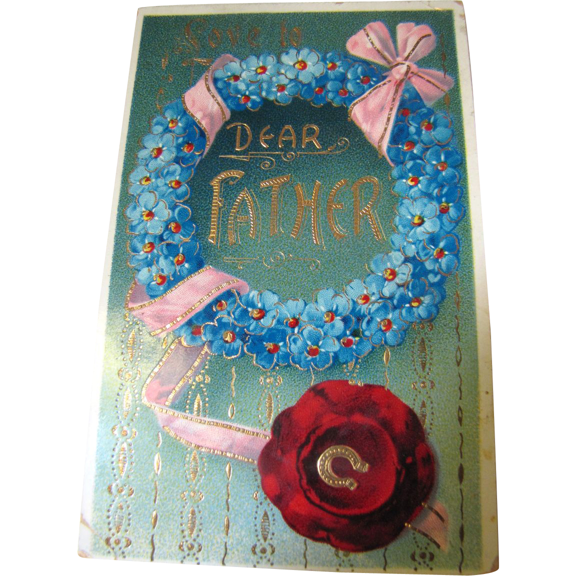 Love to Dear Father Attractive German Card, Circa early 20th C.‏