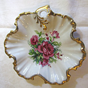Beautiful Mid Century Rose Design Trinket Tray, Japan